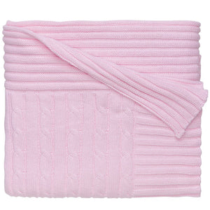 Classic Cotton Cable Knit Blanket (Pastel Pink) - GDH | The decorators department Store