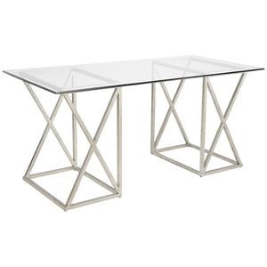 Silver Wrought Iron and Glass Top Desk