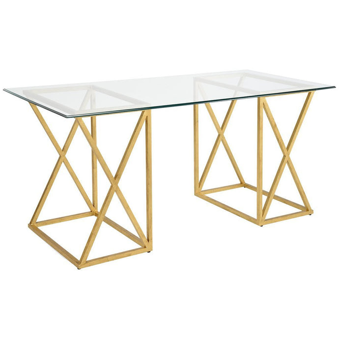Gilt Wrought Iron and Glass Top Desk - GDH | The decorators department Store