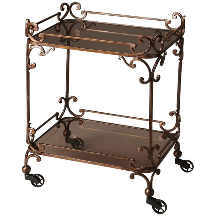 Delphine Iron & Glass Serving Cart