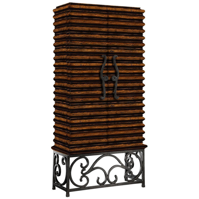 Wood Wine Cabinet with Wrought Iron Base - Benton and Buckley