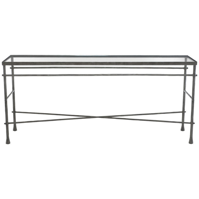Pollard Console Table Glass Top and Metal Base