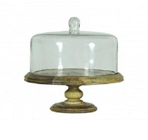 Wooden cake stand with glass cover and glass knob - GDH | The decorators department Store