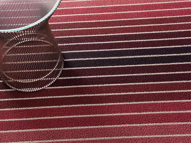 Block Stripe Indoor/Outdoor Mat | Cranberry