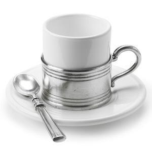 Match Pewter Espresso Cup w/Ceramic Saucer - GDH | The decorators department Store