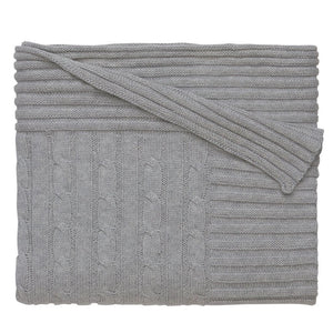 Classic Cotton Cable Knit Blanket (Grey) - GDH | The decorators department Store