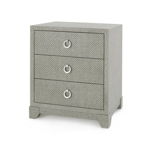 Brittany 3-Drawer Side Table, Gray Tweed