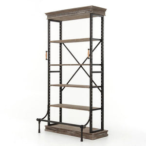 Braxton Single Bookcase-Washed Gry/Iron - Benton and Buckley