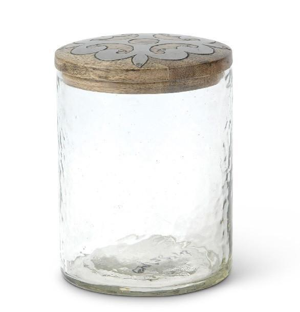 Glass Jar with Wood and Metal Inlay