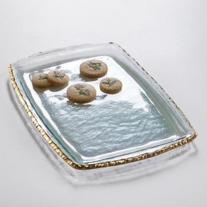 Annieglass Edgey Martini Tray in Gold - GDH | The decorators department Store