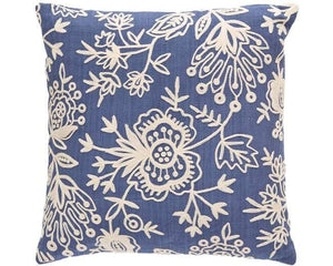 Blue Floral Crewel Indoor Outdoor Pillow - babeonbroadway
