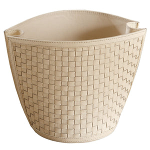 Global Views Woven Ivory Wastebasket
