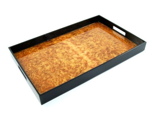 Burl Walnut Inlay Black Lacquer Tray | 22 x 14 - GDH | The decorators department Store