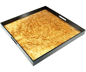 Large Square Lacquer Serving Tray | 22 x 22 | Walnut - GDH | The decorators department Store
