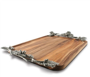 Acorn Oak & Leaf Wood Tray - homeinnapa.com