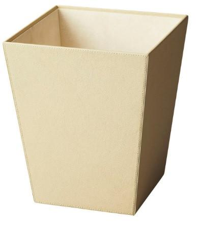 Lido Leather Cream Wastebasket