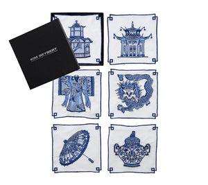 Indochine Cocktail Napkins White/Blue
