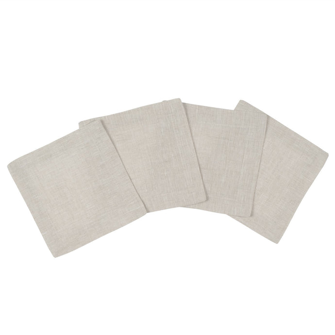 Natural Linen Cocktail Napkin  S/4