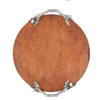 Olive Grove Acacia Wood and Pewter Cheese Board - GDH | The decorators department Store