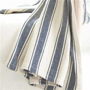 Blue Awning Stripe Woven Cotton Throw - GDH | The decorators department Store