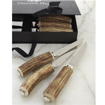 Natural Antler Handle Steak Knives- Set of 6 - GDH | The decorators department Store