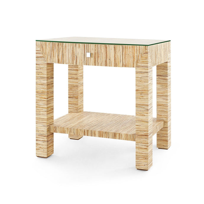 Valentina Grasscloth 1-Drawer Side Table | Papyrus