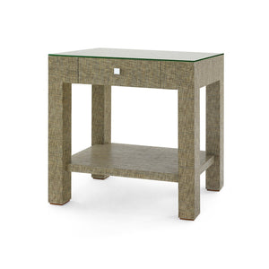 Valentina Grasscloth 1-Drawer Side Table | Slate Grey
