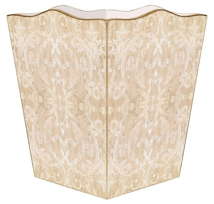 Beige Damask Wastebasket - GDH | The decorators department Store