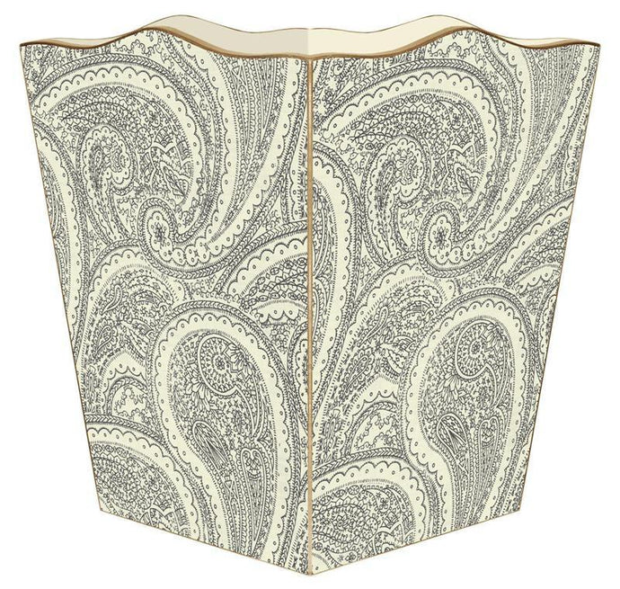 Creme Paisley Wastebasket - GDH | The decorators department Store
