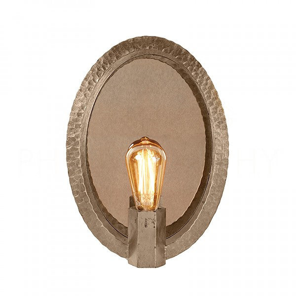 Oval Hammered Sconce in Nickel