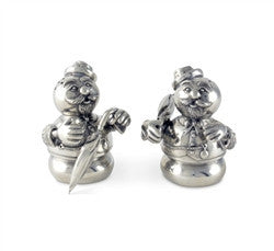 Pewter Snowmen Salt and Pepper Shaker Set - GDH | The decorators department Store