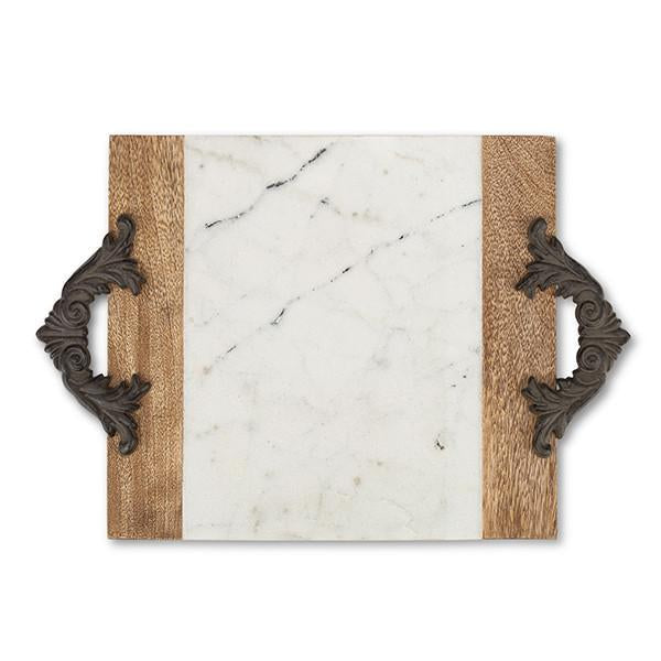 GG Collection Antiquity Marble Wood Tray- Medium