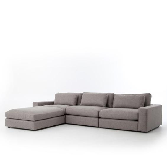 Bloor 3 Piece Sofa + Ottoman | Pewter