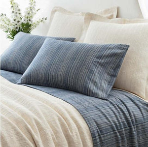Cascade Stripe Blue/Oatmeal Flannel Sheets