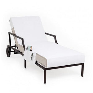 Chaise Lounge Cover with 3 Side Accessory Pockets - White