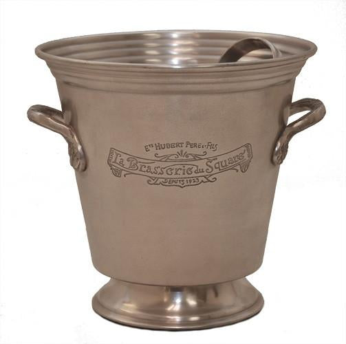 Antique Silver Ice Bucket with Tongs