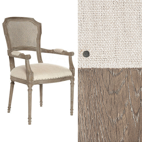 Chelsea Dining Chair in Linen | Cane Back/ Burnt Oak