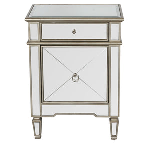 Claudette Mirrored Nightstand in Silver - GDH | The decorators department Store