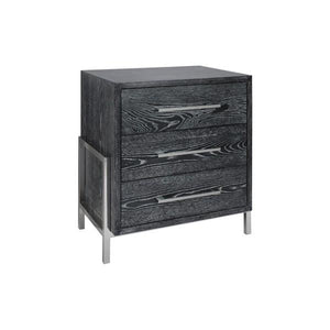COHEN BLACK OAK BED SIDE TABLE - GDH | The decorators department Store
