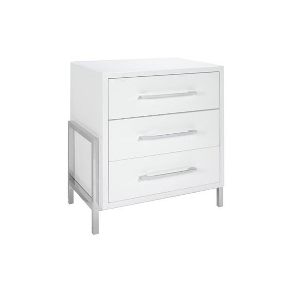 COHEN WHITE BED SIDE TABLE - GDH | The decorators department Store