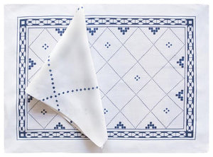 Anfa Blue Placemat and Napkin - GDH | The decorators department Store