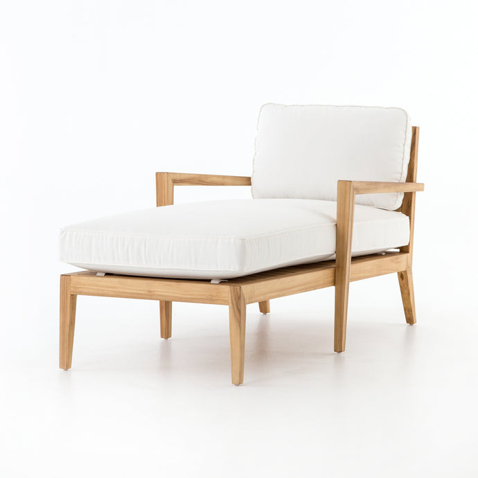 Laurent Outdoor Chaise | Canvas White - Benton and Buckley