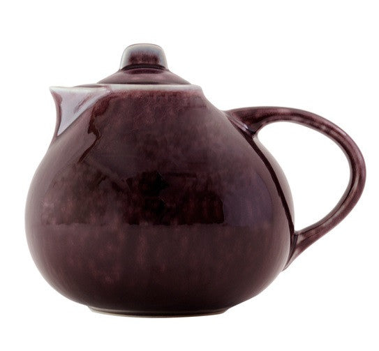 TOURRON EGGPLANT & WHITE TEAPOT - GDH | The decorators department Store