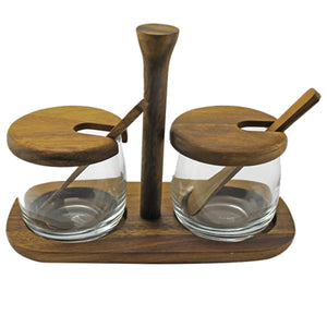 Acacia Tray with Glass Jar and Spoon