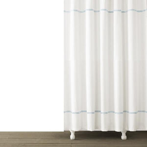 Double Line Embroidered Shower Curtain | Light Blue