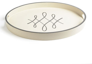 Barbara Barry Script Oval Tray in Ivory