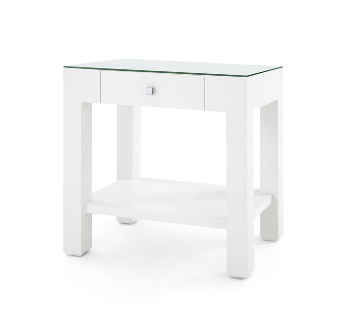 Valentina Grasscloth 1-Drawer Side Table | White