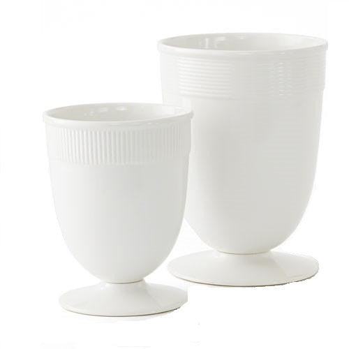 Barbara Barry Banded Ceramic Vases in White