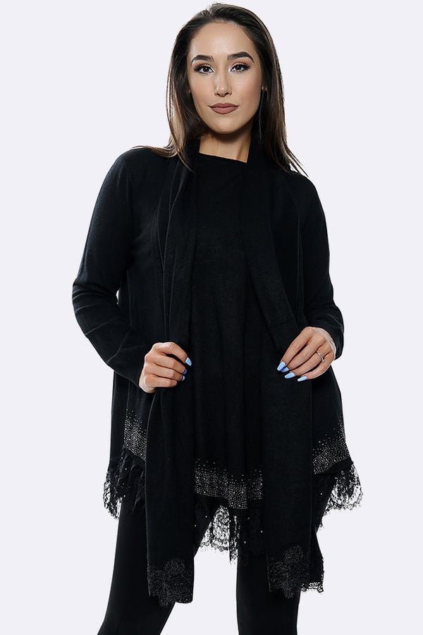 Soft Knit Diamante Lace Hem Jumper
