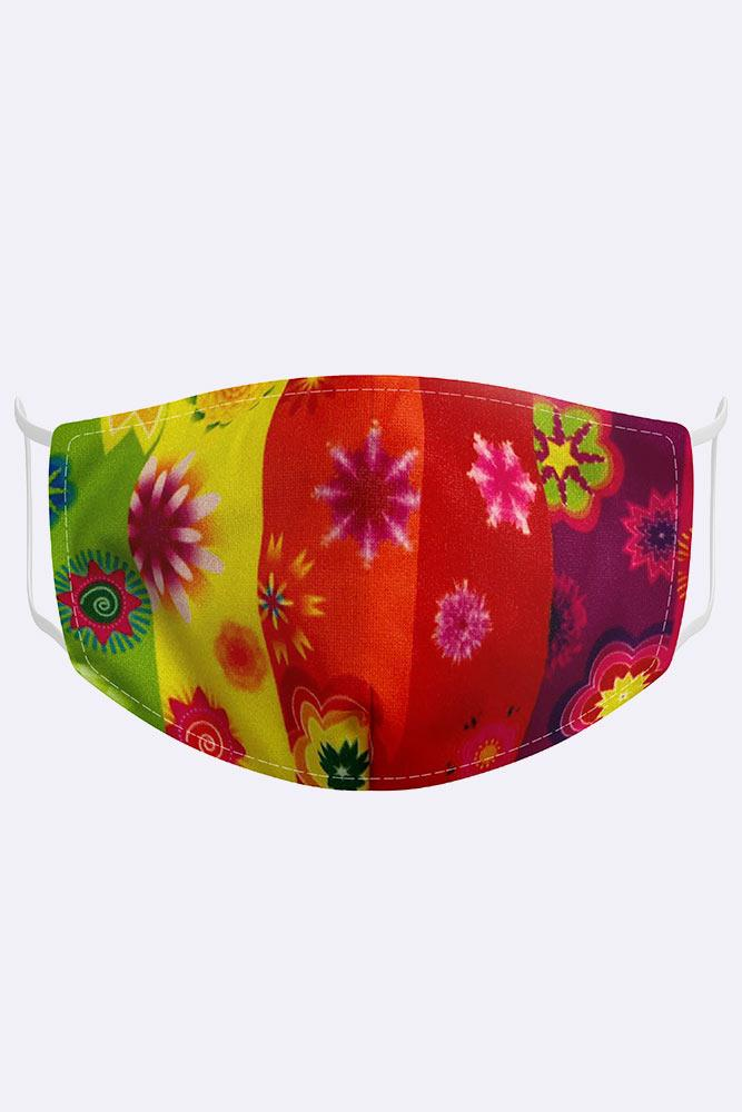 Kids Rainbow Floral 2 Ply Digital Print Cotton Face Mask Cover